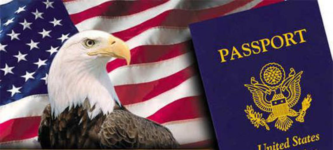 US passport with the US flag and the US sign