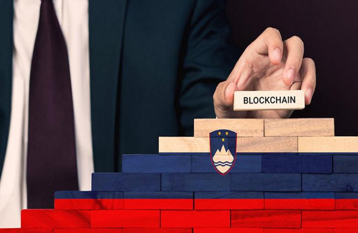 Blockchain with the colors of Slovenia and businessman
