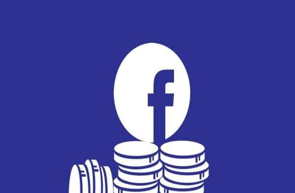 Facebook logo with stable coins of Libra currency