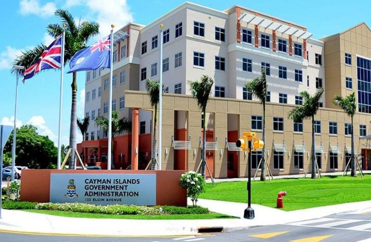 The Cayman Islands government building with national flags of UK.